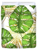 Tropical Haze Green Monstera Leaves And Golden Palm Fronds Duvet Cover
