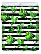 Tropical Leaves Pattern In Watercolor Style With Stripes Duvet Cover