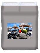 Tropical Paradise Sun, Sand, Beach And Drinks. Duvet Cover