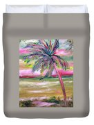Tropical Sunset In Pink With Palm Tree Duvet Cover