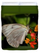 Tropical White Butterfly Duvet Cover by April Wietrecki Green