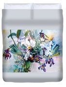 Tropical White Orchids Duvet Cover