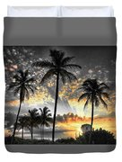Tropically, Black And Gold. Duvet Cover