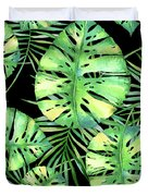 Tropics Noir, Tropical Monstera And Palm Leaves At Night Duvet Cover