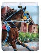 trotter standardbred Horse at the Little Brown Jug Duvet Cover