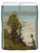 Trouillebert, Paul Desire 1829 Paris 1900 Farmer Sitting On The Edge Of The Water Duvet Cover
