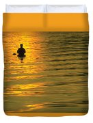 Trout Fishing At Sunset Duvet Cover
