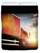 Truck Speeding On The Highway. Transportation Duvet Cover