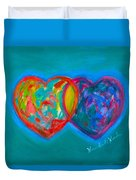 True Blue Hearts Duvet Cover