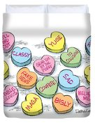 Trump Valentines Candy Uncensored Duvet Cover