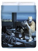 Trumpet Player Playing The Blues Fermin Point Los Angeles In Infrared Duvet Cover