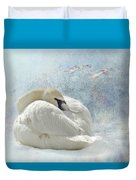 Trumpeter Textures #1 - Swan Feather Duvet Cover by Patti Deters
