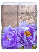 Tryst, Lavender Blue Peonies Still Life Flowers Duvet Cover