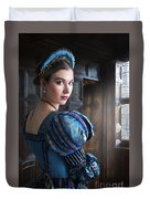 Tudor Woman With Puffed Sleeves And French Hood Facing A Window  Duvet Cover