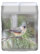 Tufted Titmouse - A Winter Delight Duvet Cover