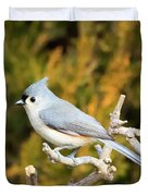 Tufted Titmouse On A Branch Duvet Cover