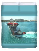 Tugboat At Freeport, Grand Bahamas Harbor Duvet Cover