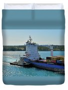 Tugboat Helping Container Ship Out Of Harbor Duvet Cover