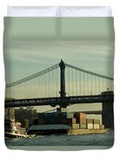 Tugboat Pulling A Barge On The East Duvet Cover