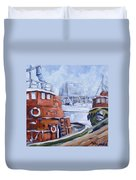 Tugs In Harbour Duvet Cover