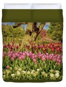 Tulip Bed At Longwood Gardens In Pa Duvet Cover