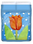 Tulip Blue White Spot Background Duvet Cover
