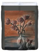 Tulip Flowers Bouquet In Two Round Water Filled Small Globe Shaped Vases On A Table Still Life Of Bo Duvet Cover