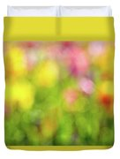 Tulip Flowers Field Blurred Defocused Background Duvet Cover