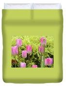 Tulip Garden Landscape Art Prints Pink Tulips Floral Baslee Troutman Duvet Cover