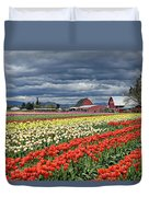 Tulips And Barn Duvet Cover