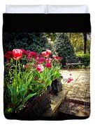 Tulips And Bench Duvet Cover