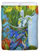 Tulips And Iris In A Japanese Vase, With Fruit And Textiles Duvet Cover