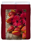 Tulips And Red Daisies  Duvet Cover