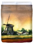 Tulips And Windmill From The Netherlands Duvet Cover