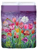 Tulips Are Magic In The Night Duvet Cover