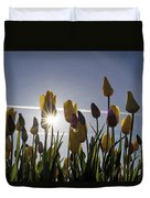 Tulips Blooming With Sun Star Burst Duvet Cover