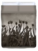 Tulips In Black And White Duvet Cover