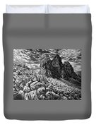Tulips In The Alps Black And White Duvet Cover