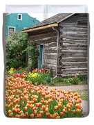 Tulips Lead To The Cabin Duvet Cover