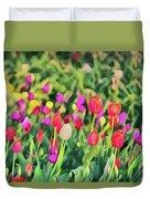 Tulips. Monet Style Digital Painting. Duvet Cover