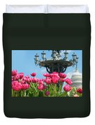 Tulips With Bartholdi Fountain Duvet Cover