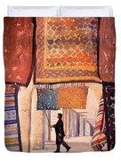 Tunisian Rug Vendor Duvet Cover