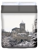 Tures Castle In The Snow Duvet Cover