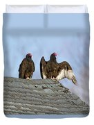 Turkey Vultures On Roof Duvet Cover