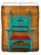 Turquoise And Red Chair Duvet Cover