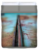 Turquoise And Rust Abstract Duvet Cover