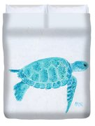 Turquoise Marine Turtle Duvet Cover
