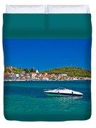 Turquoise Waterfront Of Rogoznica Tourist Destination Duvet Cover