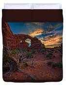 Turret Arch At Sunset Duvet Cover