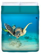 Turtle And Diver Duvet Cover
